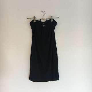 Vintage Black Halter Neck Tie Up Dress