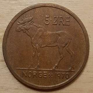 1970 Norway King Olav V 5 Ore Coin
