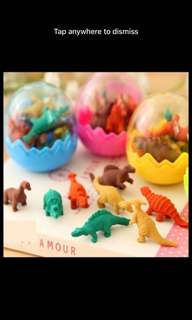 Ready stock! Dinosaur egg erasers
