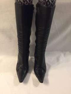 Black leather stiletto ZOMP boots