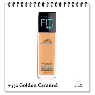 💕 Instock 💕 Maybelline Fit Me Matte + Poreless Foundation 💋 #332 Golden Caramel 💋
