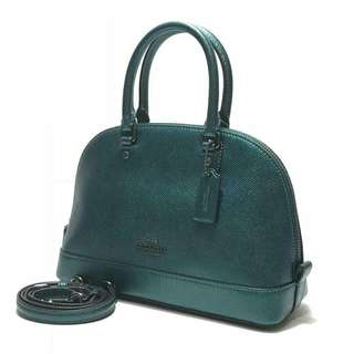 Coach mini sierra satchel //size : 25x18,5x9cm Metallic Dark Teal