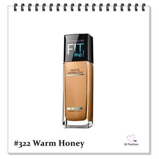 💕 Instock 💕 Maybelline Fit Me Matte + Poreless Foundation 💋 #322 Warm Honey 💋