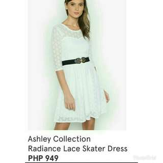 ZALORA Radiance Lace Skater White Dress - XL