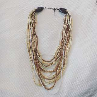 Leather, Wood & Bead Chunky Tribal Necklace