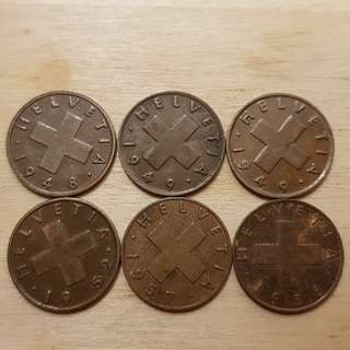 Switzerland 1 Cent Coins