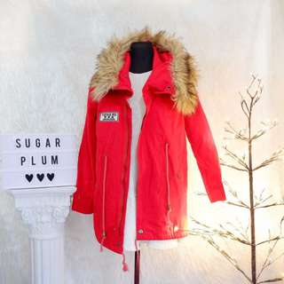 Red Vintage Jacket with Faux Fur