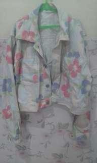Jaket motif bunga & blouse