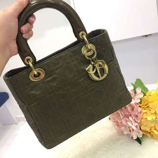 ❌SOLD!❌ Superb Deal!⚡️ Good Condition Vintage Medium Lady Dior In Green Chiffon Fabric GHW