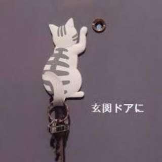(南南貓舍) 貓貓雜貨 灰色貓 尾巴 磁石 掛勾 magnet hook Cat-06