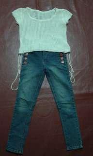 Set baju anak jeans+atasan rajut
