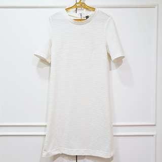 H&M Ribbed White Dress