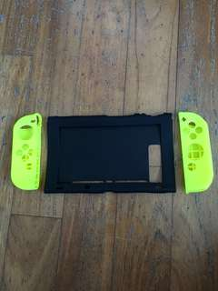(Instock) Neon Yellow Nintendo Switch silicone cover + grip bundle