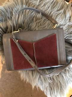 Mimco grey leather/burgundy suede bag