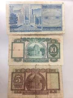 70年代上海滙豐銀行鈔票
