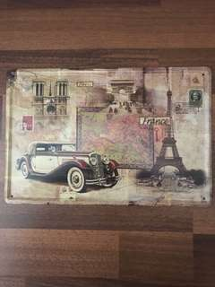 Vintage Metal plate Paris