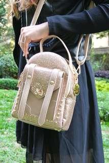 代理T.U. Handbag Korea Style golden bling Sharp  韓系 女裝 手袋 女包 2用背包或手袋 小包 型格 閃閃 金色 輕便易襯 205