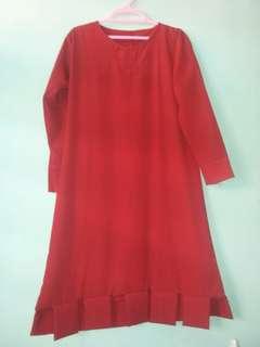 Tunik Merah Model Unik