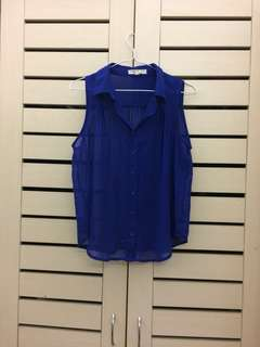 Blue Sleeveless Sheer Blouse