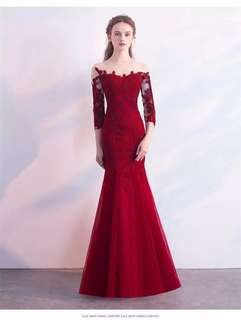 Premium Lace Mermaid Gown (Colour: Red Wine)