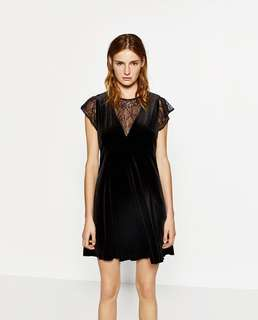 Zara velvet and lace dress