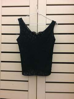 Black Lace Cropped Cami
