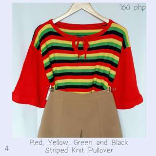 Red, Yellow, Green and Black Striped Knit Pullover