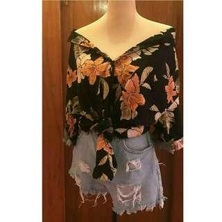 Black Summer Floral Buttondown