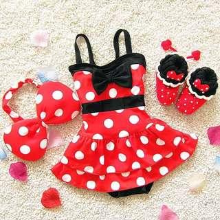 預購-H002 夏季新款韓版米妮大蝴蝶結女童寶寶連身泳裝+髮帶 女童泳裝