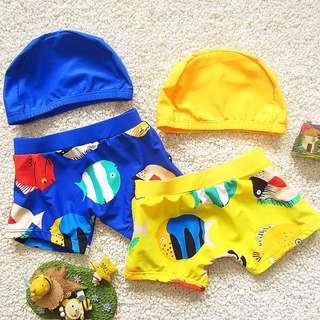 預購-H001 夏季新款韓版男童寶寶泳褲+泳帽 男童泳裝