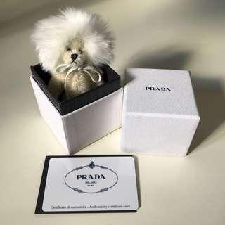 Prada white lion bag charm