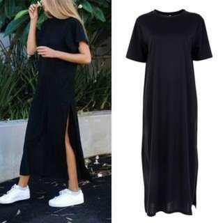 (8)Long Beach Party Women Causal Short Sleeve Loose Dress