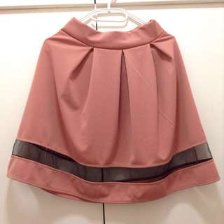 Pink skirt with black mesh