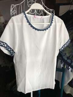 🚚 圓領繡花袖口提花邊:怎麼搭配都簡單大方時尚。