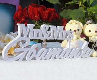 """Personalized White Letter Mr and Mrs LAST NAME Wedding Custom Wedding Sign Mr & Mrs Last Name Table Sign Wedding Decor 6"""" tall"""
