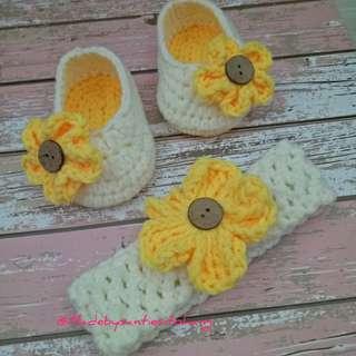 Sepatu Bandana Bayi Lucu Rajutan Hand Made umur 0-6 bulan