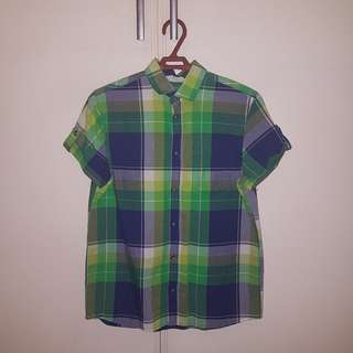 Blue and Green Checkered Short sleeve Polo