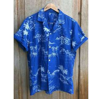 Royal Blue Summer Palm Hawaiian Buttondown