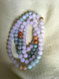7mm 108 beads Jadeite 紫珠三彩玉珠