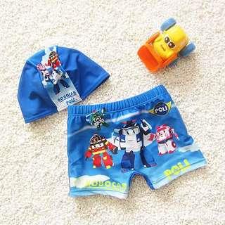 預購-H004 夏季新款韓版男童寶寶泳褲+泳帽 男童泳裝