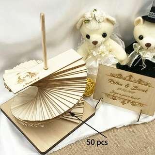 Custom Wedding Guest Book, Personalised Drop Top Wedding Guestbook Album, Personalized Wooden Guest Book Alternative