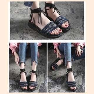 凉鞋平底韩版沙滩鞋百搭厚底复古外穿绑带罗马女鞋2018,