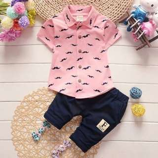 Two-Pieces Boy Short Sleeve and Pants For Boy Clothing Set