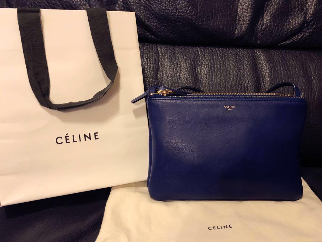 100% Real Celine Small Trio Navy Blue Lambskin Bag Crossbody Shoulder Carry  Handbag 海軍藍色羊皮手袋- NOT CHANEL GIVENCHY CHLOE LOEWE PRADA GUCCI MARNI ... 26877628237f9