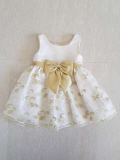 White Gold Baby Girl Dress