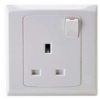 MK Electric 1 Gang 13A SP Switched Socket Outlet (S2757 WHI)