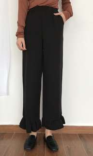 Black bell sleeve bottom pants culotte