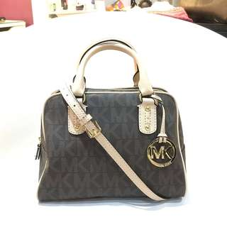 [MICHAEL KORS] MK Signature Brown PVC Small Satchel Handbag Bag