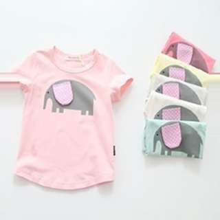 1317 Girls Cartoon Elephant T-shirt