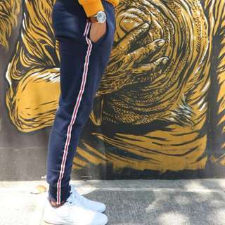 NAVY BLUE TRACK PANTS SIDE STRIPES